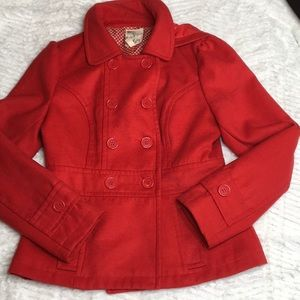Tulle Red hooded pea coat size medium